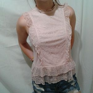 🌺NWT Express Creamy Rose Lace Blouse